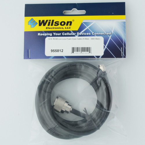 Wilson 10' RG58 Low Loss Coax Cable Extension N-Male to SMA-Male | 955812