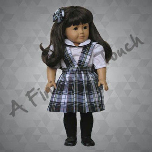 FT108- Split-Front Doll Jumper, Blouse and Bow for 18 inch doll