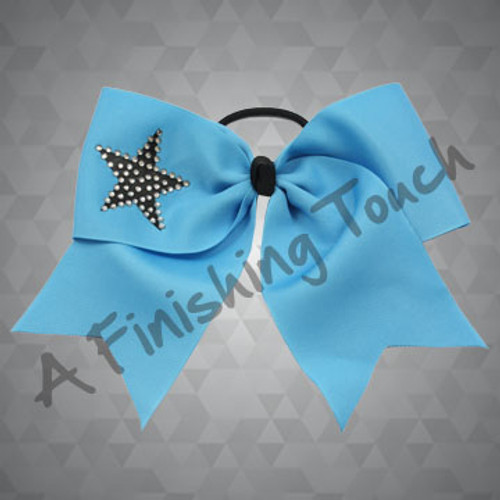 112RH- Basic Short Tailed Cheer Bow with Classic Rhinestone Star