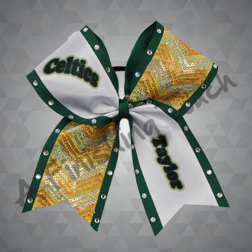 907D- Team Name and Individual Name Cheer Bow