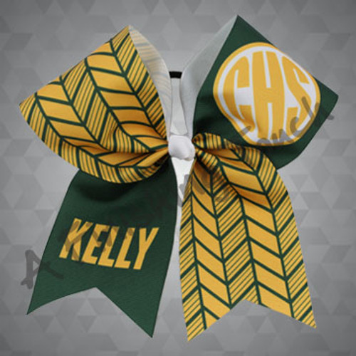 1286- Monogram & Herringbone Cheer Bow