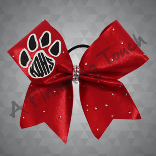 1304- Glitz Cheer Bow with Initials & Paw