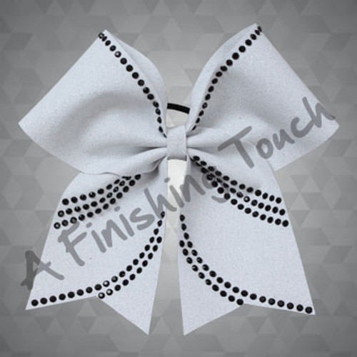 1344- Glitter bow with Black Rhinestones