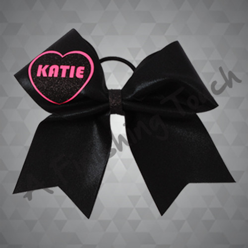 1347- Glitz Bow with Classic HTV Heart and Name