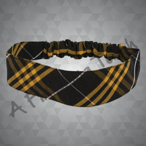 221- Plaid or Solid Fabric Headband w/Elastic in Back