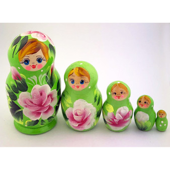 Green floral nesting doll set
