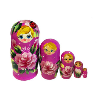 Light purple ladybug nesting doll set