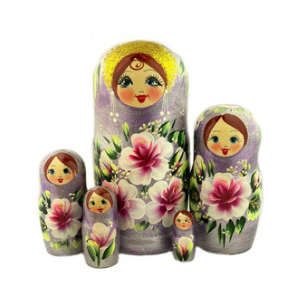 Beautiful Purple and Gold Floral Nesting Doll Set