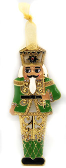 Moscow Ballet Nutcracker Soldier Metal-Enamel and Gem Ornament Green