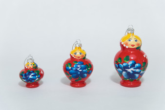 Moscow Ballet's set of 3 glass nesting doll Christmas tree ornaments