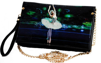 Moscow Ballet's Dying Swan Clutch Purse with Wrist Strap and Shoulder Chain