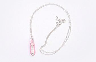 Moscow Ballet's Pink Pointe Shoe Necklace with Heart Shaped Cubic Zirconia Gemstone