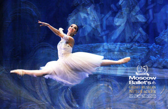 Moscow Ballet's Great Russian Nutcracker Waltz of the Snow Forest 25th Anniversary Poster Blue and White
