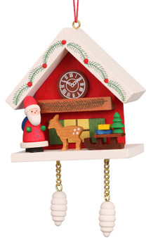 Ulbricht santa cuckoo clock red hanging ornament