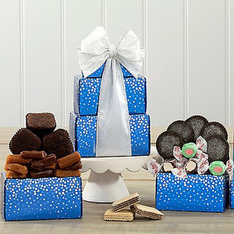 Sweet Stack Gourmet Christmas Tower Blue with Ribbon
