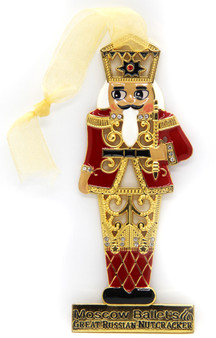 Moscow Ballet's Great Russian Nutcracker Enamel and Gem Hanging Nutcracker Soldier Christmas Ornament Red