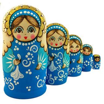 Handkerchief blue Matryoshka/nesting doll set from Moscow Ballet
