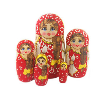 Red Long Braided Hair Matryoshka/Nesting Doll Set from Moscow Ballet