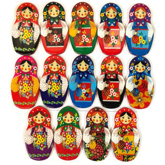 Assorted Color Matryoshka/Nesting Doll Magnet Set of 14 from Moscow Ballet