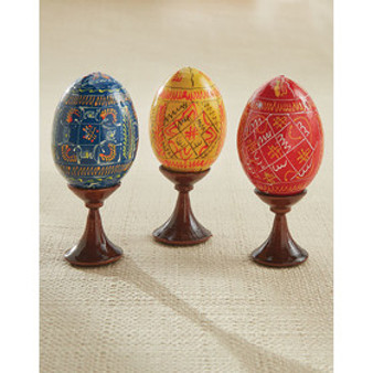 Ukrainian Multicolor Pyansky Eggs Handmade on Wooden Stand from Moscow Ballet