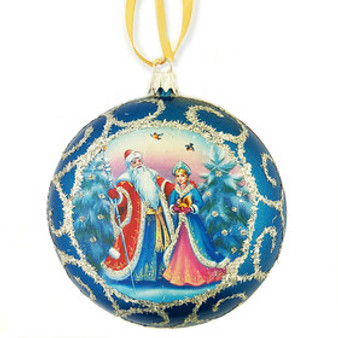 Blue Father Frost and Snow Maiden Unbreakable Globe Christmas Tree Ornament from Moscow Ballet