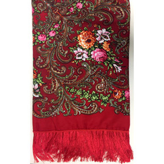 Beautiful Wool-Blend Floral Shawl Scarf Red with Fringe