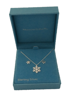 Snowflake Earrings and Necklace Sterling Silver Jewelry Set from Moscow Ballet