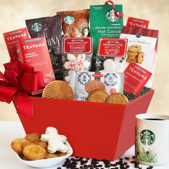 Christmas Morning Starbucks Coffee Basket