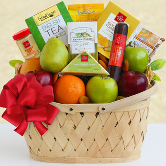 Holiday Greetings: Healthy Fruit & Snacks Basket
