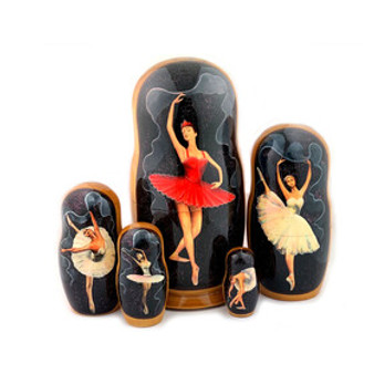 Russian Ballet Nesting or Matryoshka Doll Set of 5