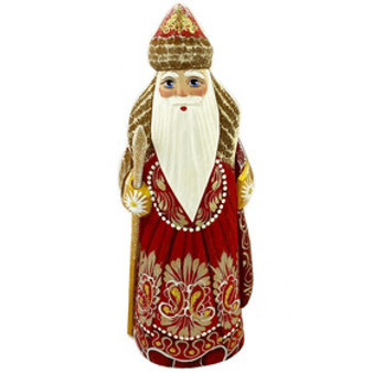 Wooden Hand Carved Santa Figurine from Moscow Ballet made in Russia Front