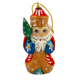 Wooden Russian Hand Carved and Hand Painted Santa Claus Ornament from Moscow Ballet Front
