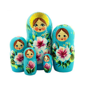 Beautiful Blue Floral Russian Matryoshka Nesting Doll Set