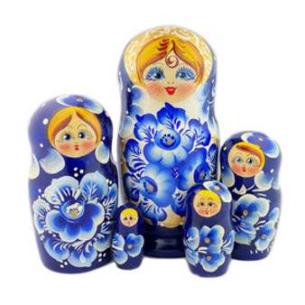 Blue and White Flowers Winter Nesting Doll from Moscow Ballet