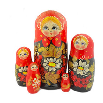 Red daisy and berries matryoshka nesting doll set from Moscow Ballet