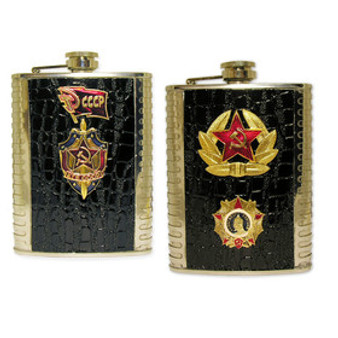 Russian stainless steel and leather flask from Moscow Ballet