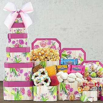 Floral Celebration: Gourmet Tower for Mother's Day and Springtime