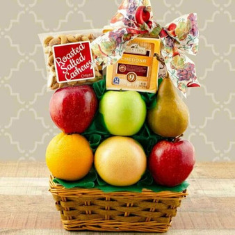 Enjoy fresh fruit, & sugar and gluten free treats with this Healthy Surprise Treats Basket.