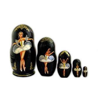 Set of 5 Russian Ballet Nesting/Matryoshka Dolls