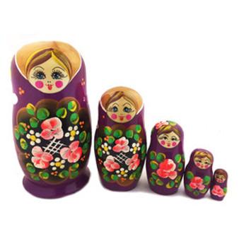 Beautiful Floral Purple Russian Nesting Doll Set