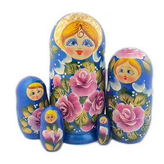 Blue Matryoshka/Nesting Doll featuring roses from Moscow Ballet