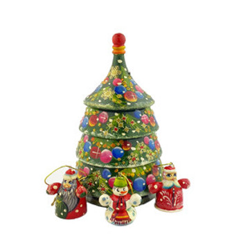 Russian Tree Nesting Doll set with hidden ornaments inside from Moscow Ballet