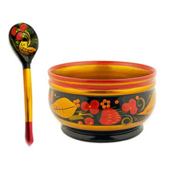 Traditional Russian Khokhloma-designed Bowl and Spoon