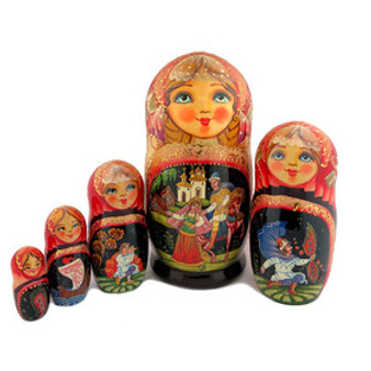 Set of 5 Russian Nesting/Matryoshka Dolls with assorted fairy tale designs