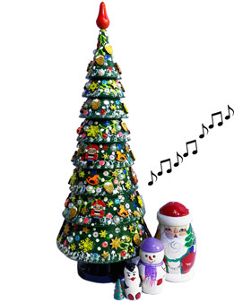 Tchaikovsky's March of the Toy Soldiers plays from this Russian Nesting Tree