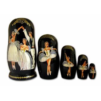 Set of 5 Russian Swan Lake Matryoshka Dolls