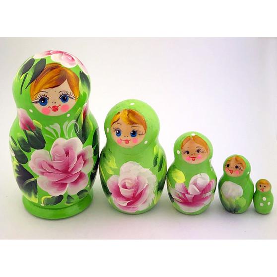 Green floral nesting doll set