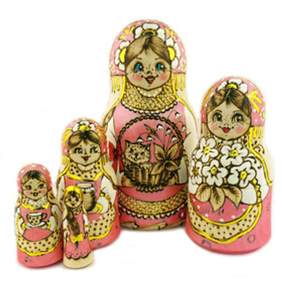 Russian Matryoshka/Nesting Doll set with smiling cat and flowers from Moscow Ballet