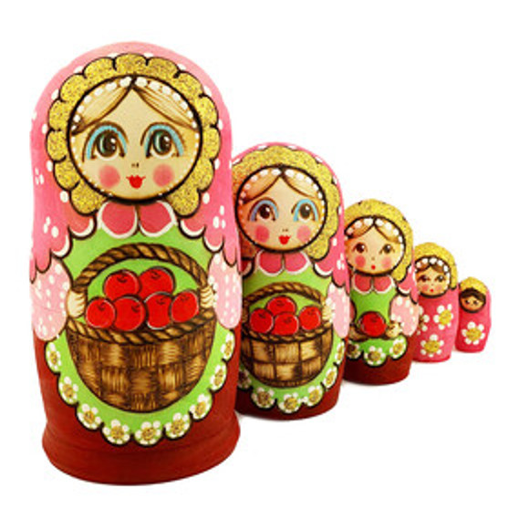 Matryoshka/Nesting Doll set holding a basket of apples from Moscow Ballet