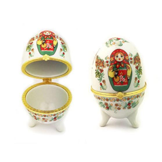 Matryoshka/Nesting Doll Porcelain Egg Jewelry Box from Moscow Ballet